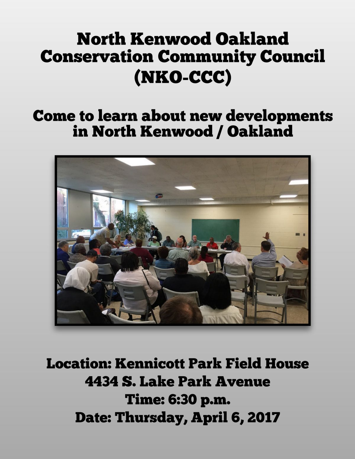 North Kenwood Oakland Community Conservation Council Meeting – Thursday, April 6, 2017 – 6:30pm